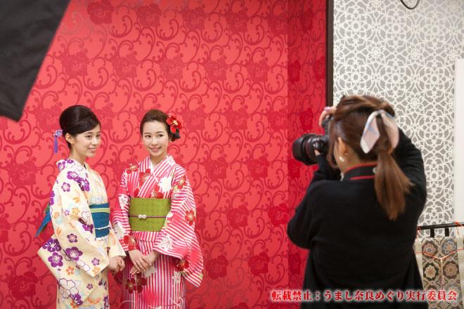 「着物のルーツは奈良にあり」学びながら着物姿をスタジオ撮影