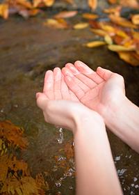 新鮮な湧き水を両手ですくって味わえるのも旅の醍醐味。