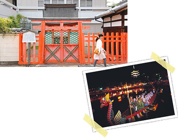 鳥居を背にして社殿が立つ珍しい社。右は仲秋の名月に開催される「采女祭」(写真提供:奈良市観光協会)
