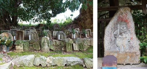 左:大門前地蔵石仏 右:不動明王