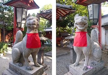 宝珠と巻物をそれぞれくわえる狐の像