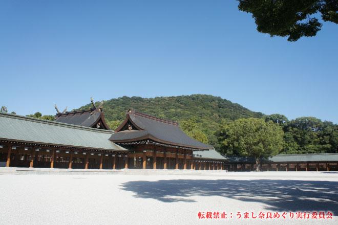 橿原神宮 畝傍山を背景に佇む内拝殿への長い廻廊を進み行く特別昇殿参拝(参拝記念品付き)