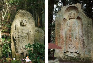 左:奥の院不動明王(長岳寺より徒歩約70分) 右:弥勒大石棺仏
